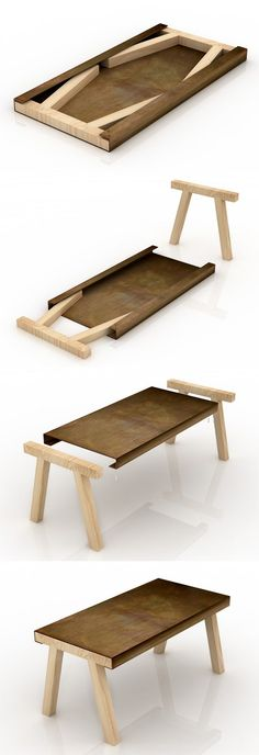 """Mastro"" is a small furniture, which is inspired by traditional craftsmen in the old studio table or stool. Desktop is etched iron materials, and on each side of a tank, you can put inside two fir stand, space-saving for storage. The two wooden legs easily extracted, a simple plug can be used on the metal table. Dimensions: 80 x 160 x 75 cm. Designer: gum design"