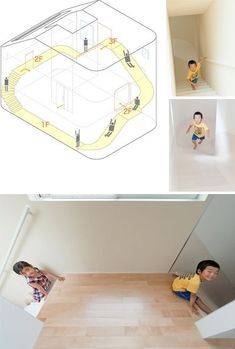 Every kid's dream...an in home slide.  Slide goes three stories down on 2 sides of a family home.  Cool idea.