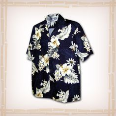"FREE SHIPPING – EVERY ORDER, EVERY DAY! Hawaiian Shirt ""Hibiscus Flowers"" By Pacific Legend – Navy  Coconut shell buttons and matching print engineered chest pocket. This Pacific Legend Hawaiian Shirt Garment is 100% Cotton and MADE IN HAWAII. http://hawaiianshirtdude.com/product/hawaiian-shirt-hibiscus-flowers-pacific-legend-navy/"