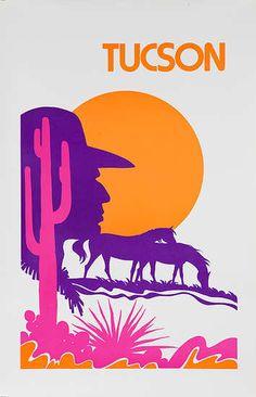 DP Vintage Posters - Tucson Arizona Original American Travel Poster Desert Silhouette