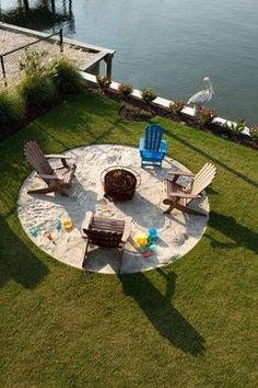 back yard beach: yard, sand, fire pit, fun, unique, seating,