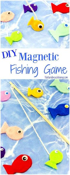 Felt DIY Magnetic Fish Game for Kids - Natural Beach Living Awesome DIY fishing game. Perfect rainy day activity, letter f alphabet activity, This Magnetic Fish Game is fun and fabulous for kids to play, party ideas Fish Activities, Rainy Day Activities, Preschool Games, Alphabet Activities, Preschool Crafts, Camping Activities, Camping Tips, Family Activities, Preschool Camping Theme