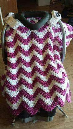 Wonderfully soft car seat canopy cover blanket that works up surprisingly fast! It just takes 2 skeins crochet pattern for purchase & Chevron Car Seat Canopy Blanket Tent Cover pattern by Heather ...