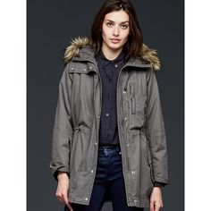 Gap Women Sherpa Lined Parka ($168) ❤ liked on Polyvore featuring outerwear, coats, flint grey, tall, gray coat, sherpa lined parka, sherpa lined coat, long gray coat y oversized coat