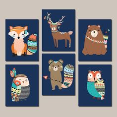 Boy Nursery Art Woodland Nursery Wall Art Tribal Nursery Decor Tribal Animals Tribal Baby Shower Boy Girl Nursery Set Of 6 Prints Or Canvas ★Includes 6 pieces of wall art or 6 digital files Available in PRINTS, CANVAS or DIGITAL FILES (see below)  ★SIZING OPTIONS Available from the drop down menu above the add to cart button with prices  ★PRINT OPTION Available sizes are 5x7, 8x10, & 11x14 (inches). Prints are created digitally and printed with UltraChrome Hi-Gloss ink on professional 68l...