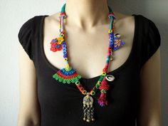 statement necklace - old world - necklace with orange, red, blue and green beaded flowers and kuchi pendant