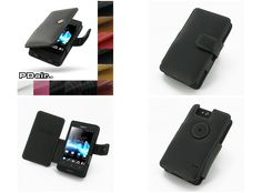 PDair Leather Case for Sony Xperia Go ST27i - Book Type (Black)