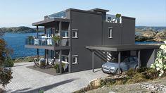 Her er vår populære nye husmodell vist med takterrasse. Her kan man enkelt sikre seg en plass i solen.
