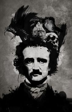 The mind of Edgar Allan Poe.  Adaptation of daguerreotype of Poe by William S. Hartshorn, 1848.