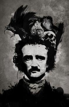 The mind of Edgar Allan Poe.  Adaptation of daguerreotype of Poe by William S. Hartshorn, 1848.