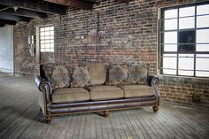 Mayo Furniture 431 Leather/Fabric Sofa - Sumter Stone