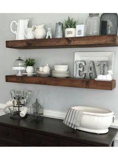 Mensola da cucina in legno massello effetto rustico colore noce antico | Acquista online mensole da cucina in vero legno antico