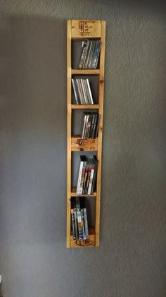 Wall shelves - pallet furniture pallets - CD and DVD shelf - a Wandregale – Palettenmöbel-Paletten- CD und DVD Regal – ein Designerstück von … Wall shelves – Pallet Furniture-Pallet- CD and DVD shelf – a unique product by Nordi-Design on DaWanda - Decor, Pallet Furniture, Creative Furniture, Pallet Projects Furniture, Wall Shelves, Dvd Shelves, Home Decor, Pallet Designs, Pallet Wall Shelves