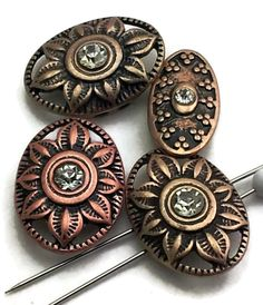 4 antique copper 2 hole bead beads beading d109