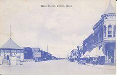 Pre 1915 Post Card View of Main Street, Dillon, Montana, Argenta Mont DPO Cancel
