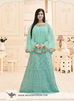 6ca6623d87 Glossy Ayesha Takia Georgette  amp  Net Cape  Style  Turquoise  Gown Indian  Clothes