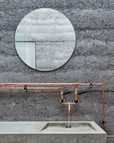 Cement and Copper Bathroom at the Balnarring Retreat by Branch Studio Architects | est living