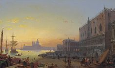 "Friedrich Nerly: ""Venedig bei Sonnenuntergang"",. Oil on canvas. 47 x 79.5 cm.   - Wikiwand"