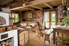 chata w Smolniku Cafe Interior, Interior And Exterior, Interior Design, Cabin Homes, Log Homes, Old Fashioned Kitchen, House Goals, Design Case, Rustic Interiors