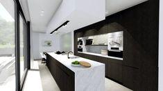 rendering by Nichdesign, interior design, kitchen, by Architectenburo Anja Vissers Kitchen Pantry Cabinet Freestanding, Kitchen Pantry Cabinets, Kitchen Dining, Dining Room, 3d Interior Design, Interior Design Companies, Modern Kitchen Design, Villa, Kitchen Interior