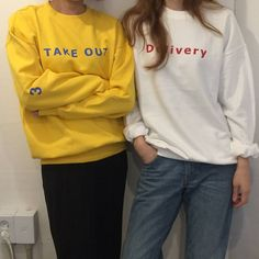 """A D E R on Instagram: """"⤵ A D E R ERROR #Delivery #takeout #sweatshirts . ✔styling . twinlook ! . #adererror#ader#fashion#fashionbrand#2015ss#chapter2#contemporary#design#graphic#designer#team#studios#basic#deeply#simple#colorful#playthepast#vintage#80s#90s"""""""
