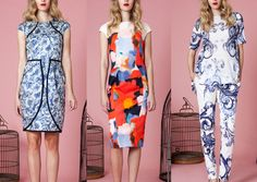 Lela Rose – Pre Fall 2014-Over-scaled Paintbrush Marks – Variations in Scale Play – Etched Florals – Over-scaled Scrolling – Baroque References