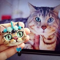 When you know your cat is secretly a Unikitty  Custom Bengal portrait necklace unicorn  style, blue with black accents #unikitty #kittycorn #catunicorn #catnecklace #catpendant