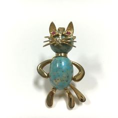 Vtg HOBE Figural Turquoise Speckled Glass CAB Jelly Belly Cat Brooch Pin EE110k  Available for purchase at Dellagraces Vintage Jewelry #Hobe