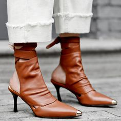Solid Leather Cutout Hollow Slingback Shoes Woman Metal Pointy Toe Stiletto High Heels Sandals Boots Fashion Lace-up Ankle Boots Brown Leather Ankle Boots, Leather High Heels, High Heels Stilettos, Shoes Heels, Slingback Shoes, Dress Shoes, Kitten Heel Boots, High Heel Boots, Heeled Boots