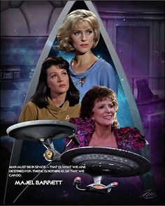 When people ask the question about who you would like to have dinner with, anyone living or dead, Majel B is at my table. Star Trek Show, Star Trek Tv, Star Trek Movies, Star Wars, Star Trek Posters, Star Trek 1966, Star Trek Images, Star Trek Original Series, Star Trek Characters