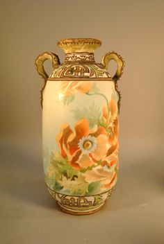 Nippon Vase with Orange Poppies and Applied Handles