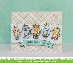 the Lawn Fawn blog: Meow You Doin' Cat card by Elise Constable.