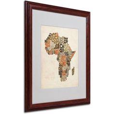 Trademark Fine Art Africa Text Map Matted Framed Art by Michael Tompsett, Size: 16 x 20, Multicolor