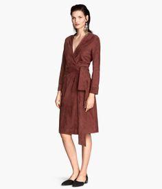 Wraparound suede dress - Product Detail   H&M GB