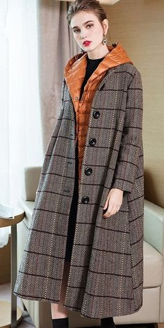 Elegant Women Two Piece Casual Plaid Overcoat With Thin Down Coat - Business Casual Outfits for Women Winter Coats Women, Coats For Women, Clothes For Women, Girls Boutique Dresses, Modest Fashion, Fashion Outfits, Mode Mantel, Business Casual Outfits For Women, Yellow Fashion