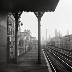 "Historical New York City art print.Looking downtown from the Third Avenue elevated railway in the ""Fifties"", 1942.New York City photography."