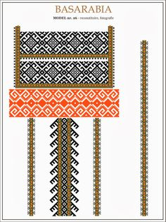 traditional Romanian pattern - north of Bessarabia Folk Embroidery, Cross Stitch Embroidery, Embroidery Patterns, Cross Stitch Patterns, Knitting Patterns, Cool Patterns, Beading Patterns, Point Lace, Moldova