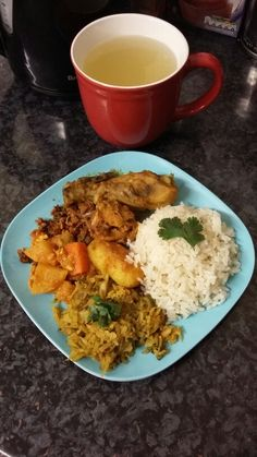 Dinner: 1 cup of brown rice, chicken curry with potato, salmon sauté, shredded cabbage bhaji with eggs. Had large cup of warm honey and lemon water first. #cleaneating #healthy #healthyrecipes #mydinner #yummy #brownrice #chicken #vegetables #warmlemonhoney