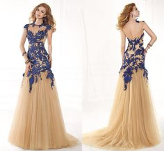 Cheap Custom Size And Color Scoop Neckline See Through Back Design New Fashion 2015 Lace Applique Royal Blue Long Prom Dress Free Measurement