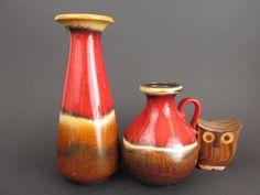 Vase retro 2er Set 70er Jahre mid century von ShabbRock Republic auf DaWanda.com