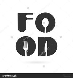 Creative food word logo elements design with spoon,knife and fork.Fast food logo,Food and drink concept. Restaurant Logo Design, Food Logo Design, Logo Food, App Design, Word Logo, Food Company Logo, Fast Food Logos, Honey Logo, Kitchen Logo