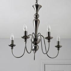Megan Black Nickel Effect 5 Lamp Pendant Ceiling Light   Departments   DIY at B&Q