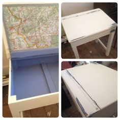 Upcycled vintage school desk; it's all mapped out - hand painted & distressed @ smrphoenix Barnstaple