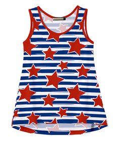 Navy Stripe & Red Star Tank - Toddler & Girls