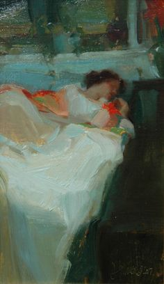 I'm amazed at the artist's ability to convey such peaceful slumber with so few brushstrokes. Love the colors.   Slumber by Johanna Harmon