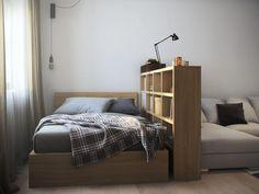 гостиная-спальня в дизайне однокомнатной квартиры 36 кв. м.