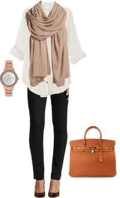 Winter scarf, white shirt, wrist watch, black pants and hand bag.