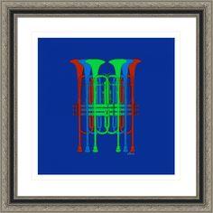 six trumpets red blue green, by  fractal mandala art