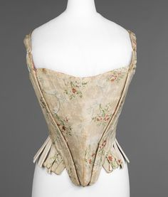 Corset Date: third quarter 18th century Culture: American Medium: silk, linen, reed, leather Dimensions: Length at CB: 16 7/8 in. (42.9 cm) Credit Line: Brooklyn Museum Costume Collection at The Metropolitan Museum of Art, Gift of the Brooklyn Museum, 2009; Robert B. Woodward Memorial Fund, 1921 Accession Number: 2009.300.2961a, b Not on view