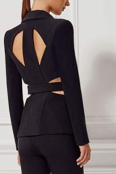 Dior Bella Women's Online Designer Fashion Store Black Cutout Back Pants Suit. sexy and chic design black pant suit v-neck button front jacket, long sleeves, cutout sides and back with sheer inserts, high waist skinny leg pants Black Women Fashion, High Fashion, Womens Fashion, Suit Fashion, Fashion Dresses, Blazer Fashion, Maxi Dresses, Black Pant Suit, Black Suits